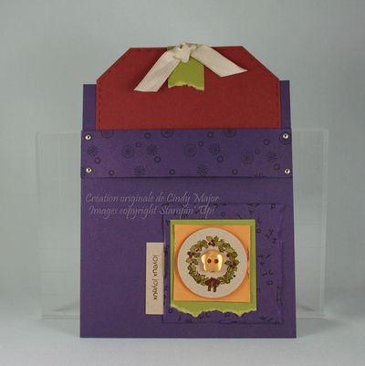 Carte pochette Noel couronne