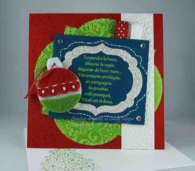 Carte Souhaits et ornement de Noel