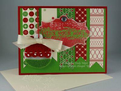 Carte Ornement de feutre Voeux pour Noel