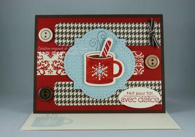 Carte Chocolat chaud et canne en bonbons Festival imprimes