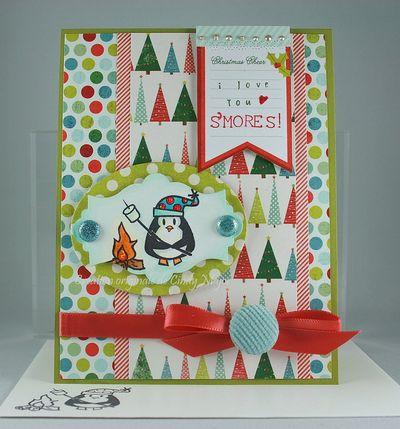 Carte pingouin I love you smores