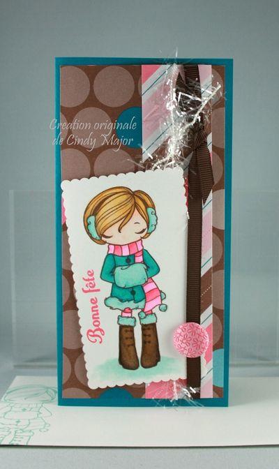Carte Fillette emmitouflee rose et turquoise