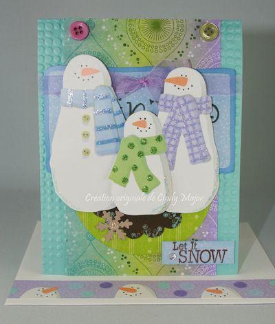Carte Famille de bonhommes de neige