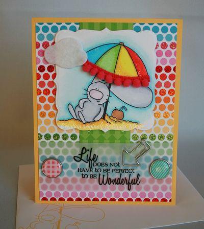 Carte Bunny and Umbrella Wonderful Life