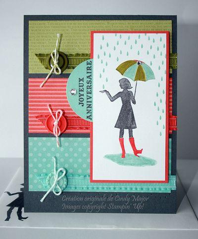 Carte Fille sous la pluie