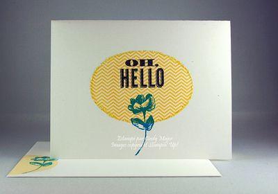 Carte Oh Hello sur ovale jaune