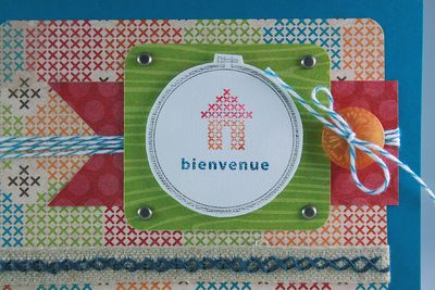 Carte Point de croix Bienvenue_close up