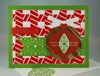 Ornament Keepsakes Stylish Stripes embossing folder Gold foil paper Cindy Major