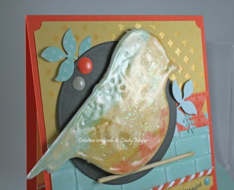 Embossing powder bird_Brick Wall EF_Cindy Major_close up