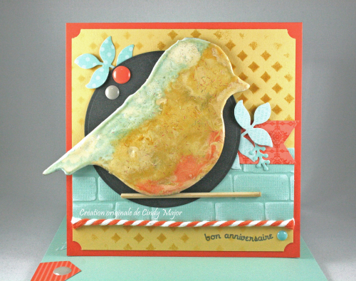 Embossing powder bird_Brick Wall EF_Cindy Major